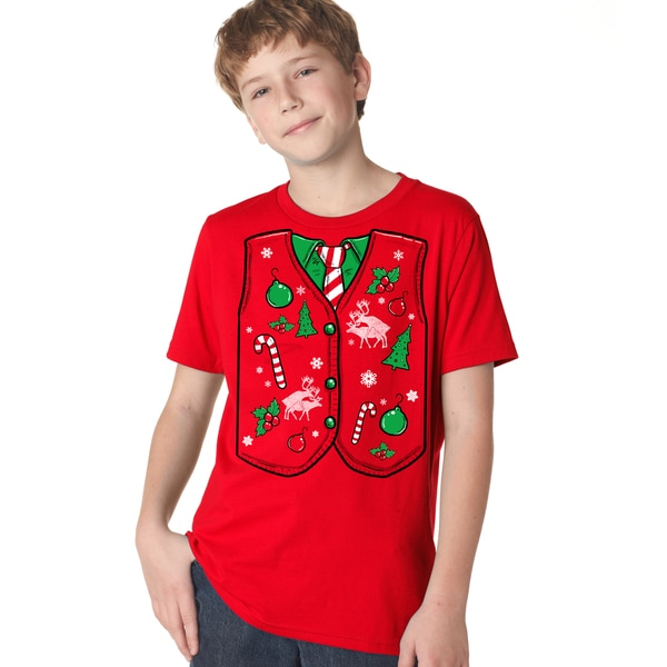 Shop Youth Ugly Christmas Sweater Vest T Shirt Funny Xmas Shirt For