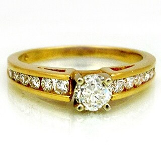 14K Yellow Gold Natural Round Cut Diamond Ring 1.91ct TW