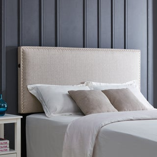 Handy Living Arabella Oatmeal Linen Upholstered Full/Queen Headboard with USB Port