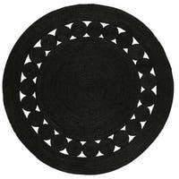 Safavieh Hand-Woven Natural Fiber Black Jute Rug - 3' Round