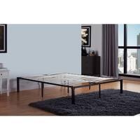 Handy Living California King Size Quick Assembly Wood Slat Black Metal Bed Frame