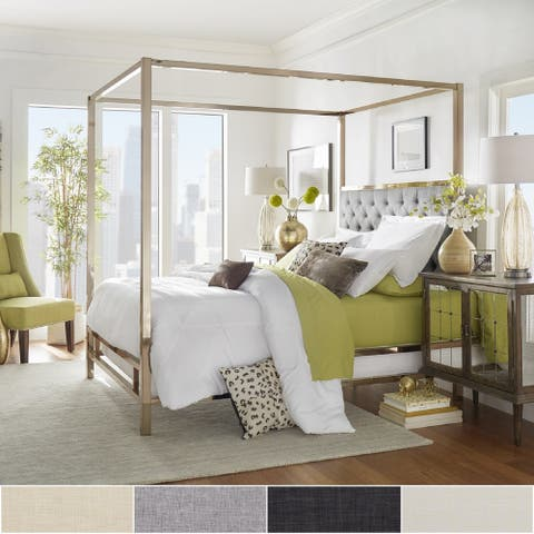 Solivita Champagne Gold Metal Canopy Bed with Tufted Headboard by iNSPIRE Q Bold