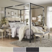 Solivita Black Nickel Metal Canopy Bed With Vertical Panel Headboard By Inspire Q Bold