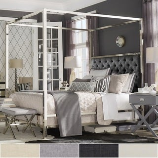 Solivita Chrome Metal Canopy Bed with Tufted Headboard by iNSPIRE Q Bold & Canopy Bed For Less   Overstock.com
