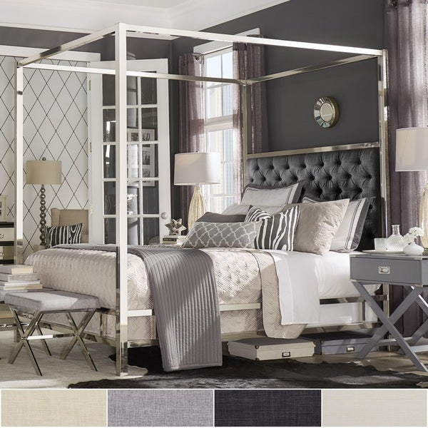 Shop Solivita Chrome Metal Canopy Bed With Tufted