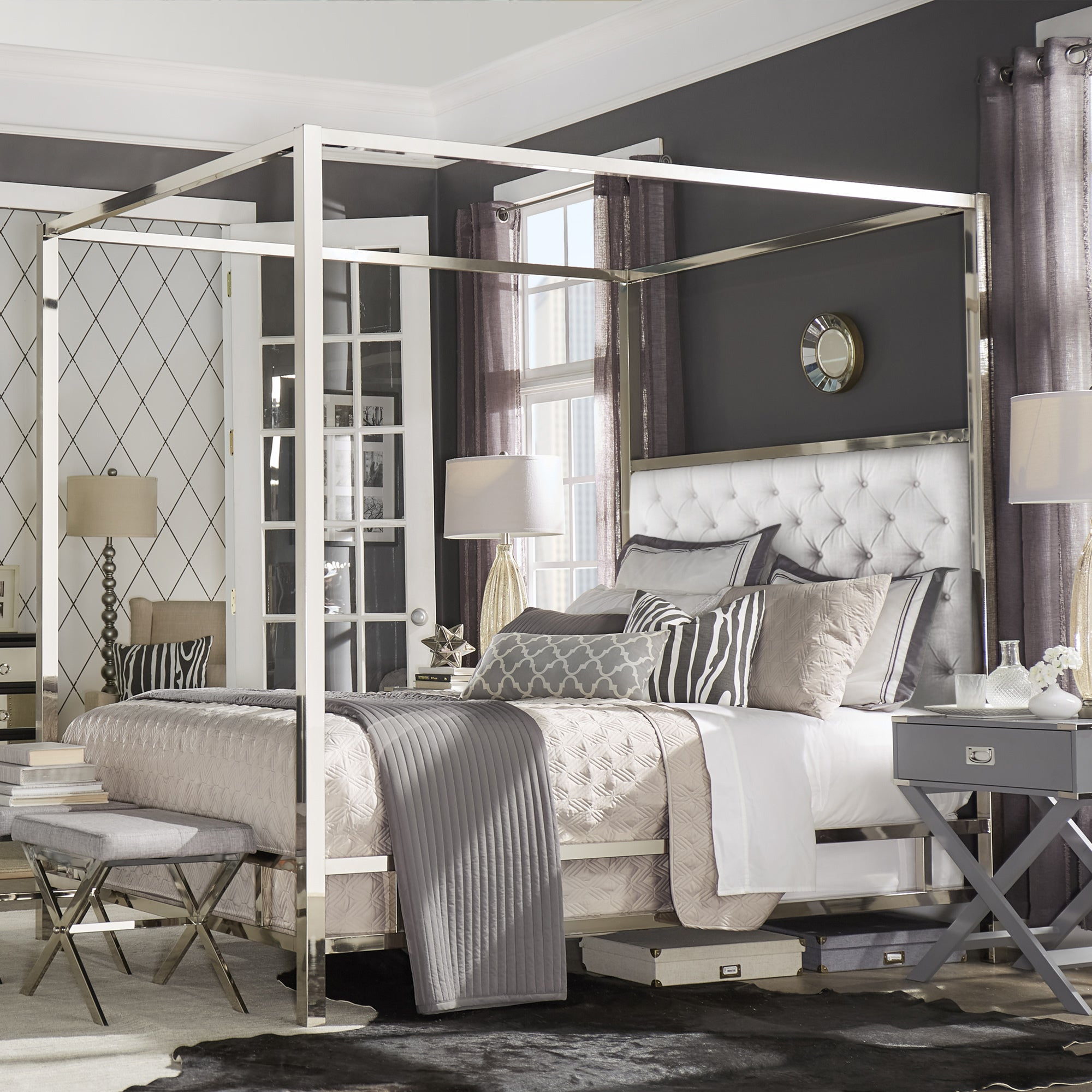 Shop Solivita Chrome Metal Canopy Bed With Tufted Headboard By