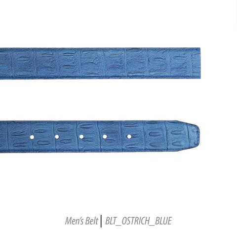 Ferrecci Mens 100% Genuine Leather Ostrich Print Belt Strap