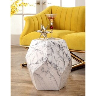 Abbyson Facet Marbled Ceramic Garden Stool, White