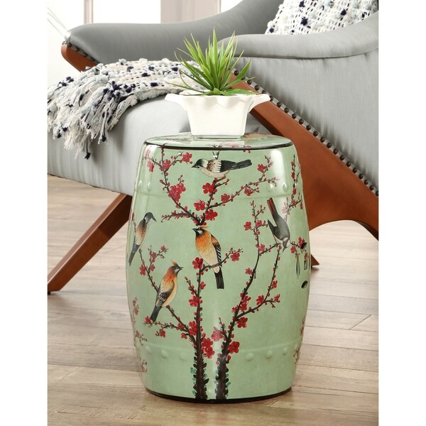 f9da953dbb0 Shop Abbyson Sakura Hand Painted Birds Ceramic Garden Stool