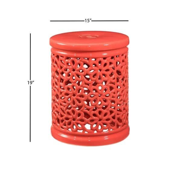 Super Shop Abbyson Lacey Floral Cutout Coral Ceramic Garden Stool Machost Co Dining Chair Design Ideas Machostcouk