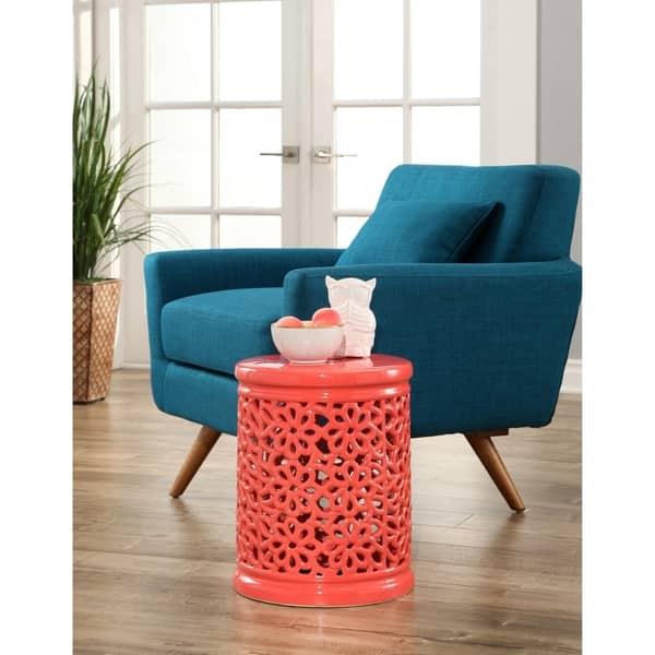 Cool Shop Abbyson Lacey Floral Cutout Coral Ceramic Garden Stool Beatyapartments Chair Design Images Beatyapartmentscom