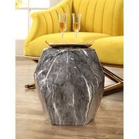 Abbyson Facet Marbled Ceramic Garden Stool, Black