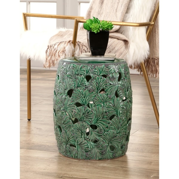 Abbyson Jade Textured Leaf Ceramic Garden Stool, Emerald Green