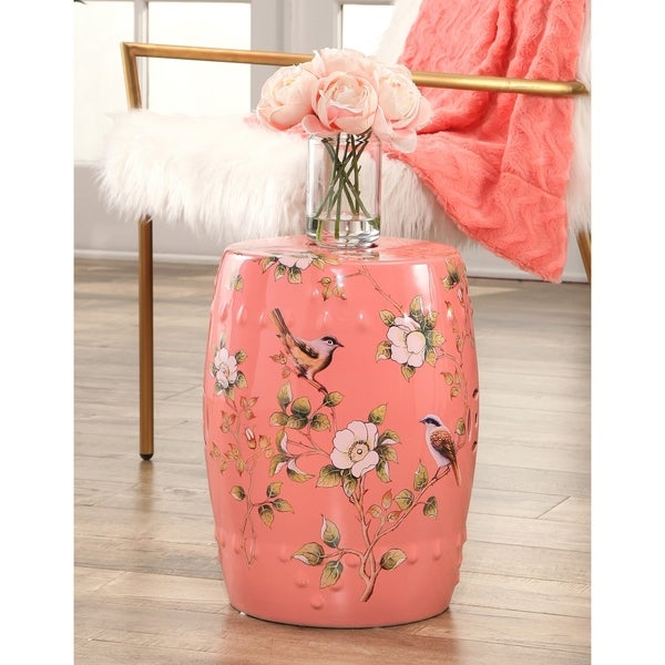 Charmant Abbyson Kyoto Hand Painted Floral Ceramic Garden Stool, Coral