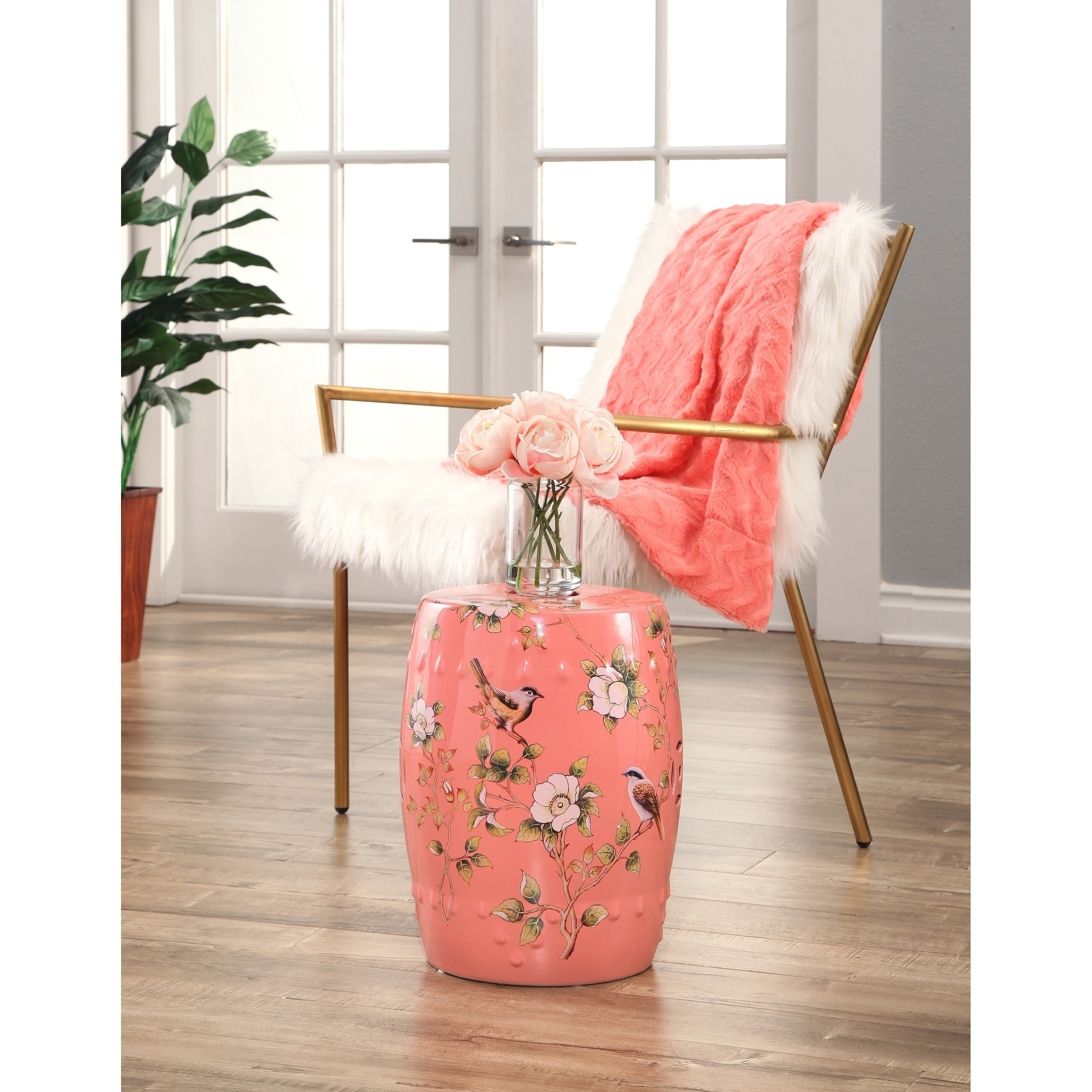 Awesome Abbyson Kyoto Hand Painted Floral Coral Ceramic Garden Stool Beatyapartments Chair Design Images Beatyapartmentscom