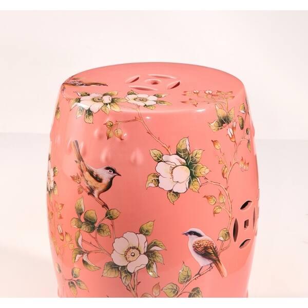 Admirable Shop Abbyson Kyoto Hand Painted Floral Coral Ceramic Garden Beatyapartments Chair Design Images Beatyapartmentscom