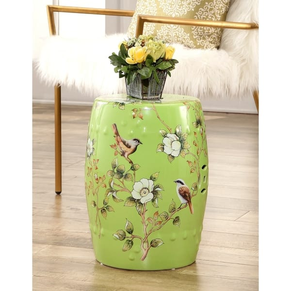 Awesome Shop Abbyson Kyoto Hand Painted Floral Lime Green Ceramic Caraccident5 Cool Chair Designs And Ideas Caraccident5Info