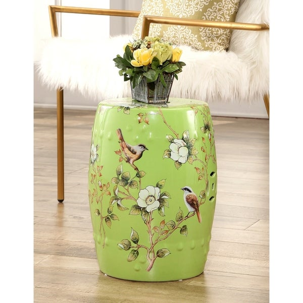 Superbe Abbyson Kyoto Hand Painted Floral Ceramic Garden Stool, Lime Green