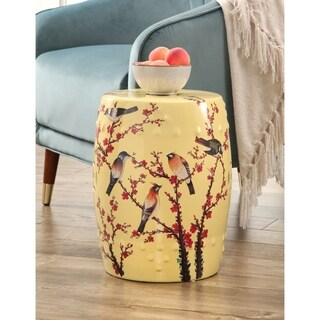 Abbyson Hanami Hand Painted Birds Ceramic Garden Stool, Pale Yellow