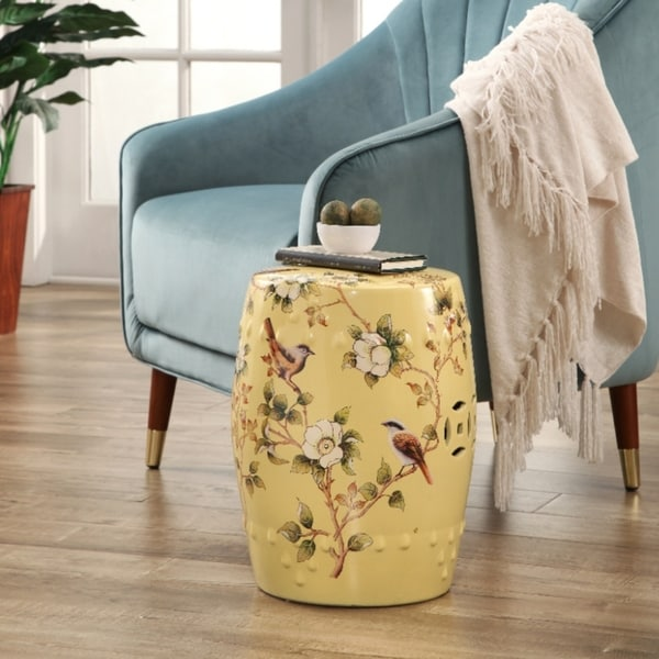 Shop Abbyson Sumida Hand Painted Floral Pale Yellow