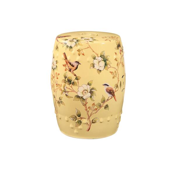 Amazing Shop Abbyson Sumida Hand Painted Floral Pale Yellow Ceramic Caraccident5 Cool Chair Designs And Ideas Caraccident5Info