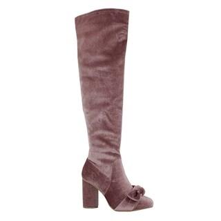 Yoki FO33 Women's Ribbon Bow Wrapped Over Knee High Velvet Boots