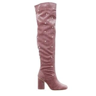 Yoki FO34 Women's Pearl Wrapped Chunky Heel Over Knee High Velvet Boot