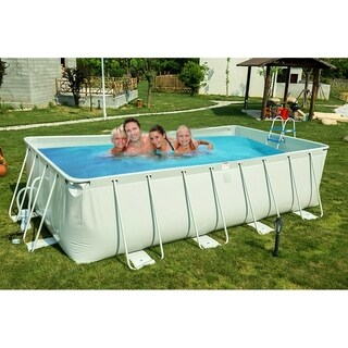 Rectangular Metal Frame Swimming Pool Set with Filter Pump System
