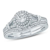 Cali Trove 1/2 Ct Round & Baguette Diamond Engagement Wedding Set In 10K White Gold.