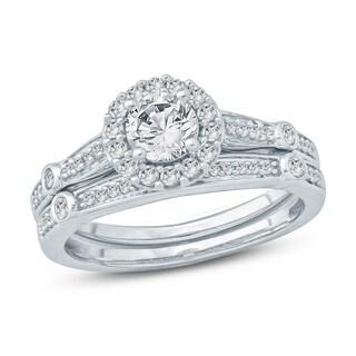 3/4 Ct Round Diamond Composite Engagement Wedding Set In 10K White Gold.