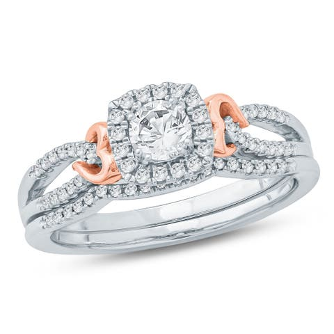 Cali Trove 1/2 Ct Round Diamond Composite Engagement Wedding Set In 10K Two Tone. - White