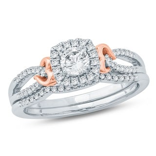 Cali Trove 1/2 Ct Round Diamond Composite Engagement Wedding Set In 10K Two Tone. - White