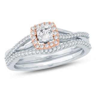 1/2 Ct Round Diamond Composite Engagement Wedding Set In 10K Two Tone. - White