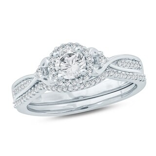 Cali Trove 1/2 Ct Round Diamond Composite Engagement Wedding Set In 10K White Gold.