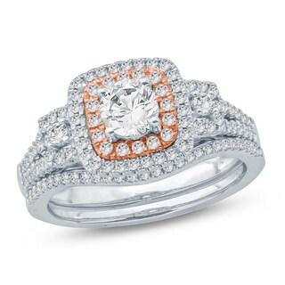 1 Ct Round Diamond Cluster Engagement Wedding Set In 14K Two Tone. - White