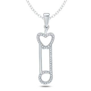 1/20 Ct Round Diamond Accent Heart Fashion Necklace Pendant In Sterling Silver. - White