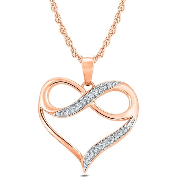 Cali Trove 1/20 Ct Round Diamond Accent Infinity Heart Pendant Necklace In 10K Rose Gold. - Pink
