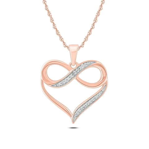 Cali Trove 10kt Pink Gold 1/20ct TDW Infinity Heart Pendant Necklace