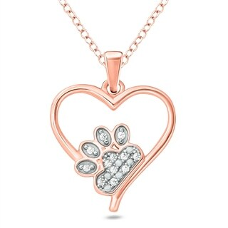 Cali Trove 1/20 Ct Round Diamond Accent Accent Paw & Heart Pendant Necklace In Rose Plated Sterling Silver. - White