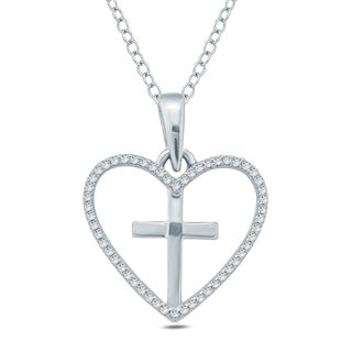 1/10 Ct Round Diamond Heart Cross Pendant Necklace In Sterling Silver. - White