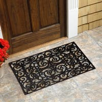 Scroll Flowers Recycled Rubber Doormat Free Shipping On
