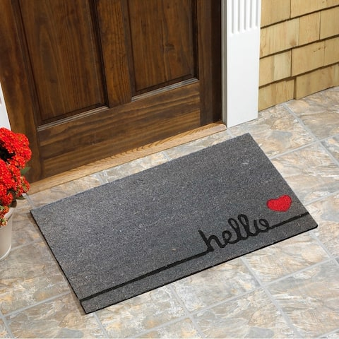 """Hello Heart Vinyl Backed Coir Doormat (18""""x30"""")"""