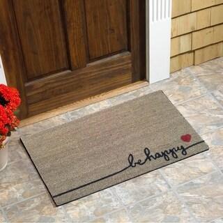 """Be Happy Vinyl Backed Coir Doormat (18""""x30"""")"""