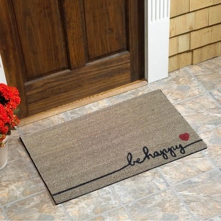 "Be Happy Vinyl Backed Coir Doormat (18""x30"")"