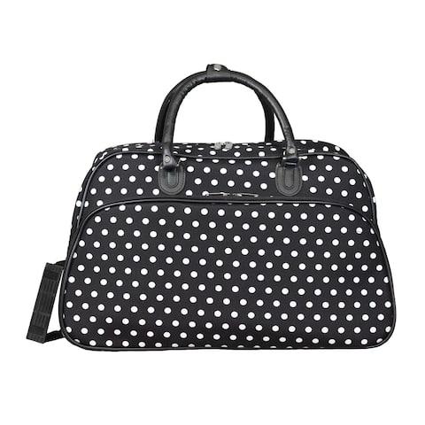 World Traveler Black White Dot 21-Inch Carry-On Shoulder Tote Duffle Bag