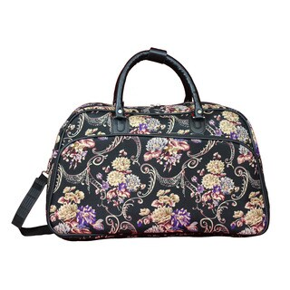 World Traveler Classic Floral 21-Inch Carry-On Shoulder Tote Duffle Bag