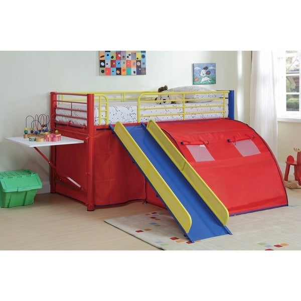 Shop Lofted Bunk Bed With Slide And Tent Multicolor Free Shipping