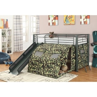 Glorious Bunk Bed with Slide and Tent, Green