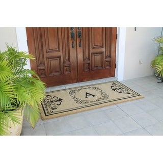 "A1HC First Impression Hayley Estate 36"" x 72"" Extra Thick and Durable Anti Shred Monogrammed X -Large Double Door Mat"