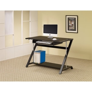 Benzara Contemporary Black Chrome Metal Computer Desk